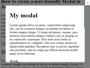 modal dialog window
