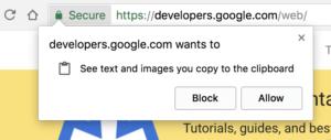 Clipboard API copy paste prompt