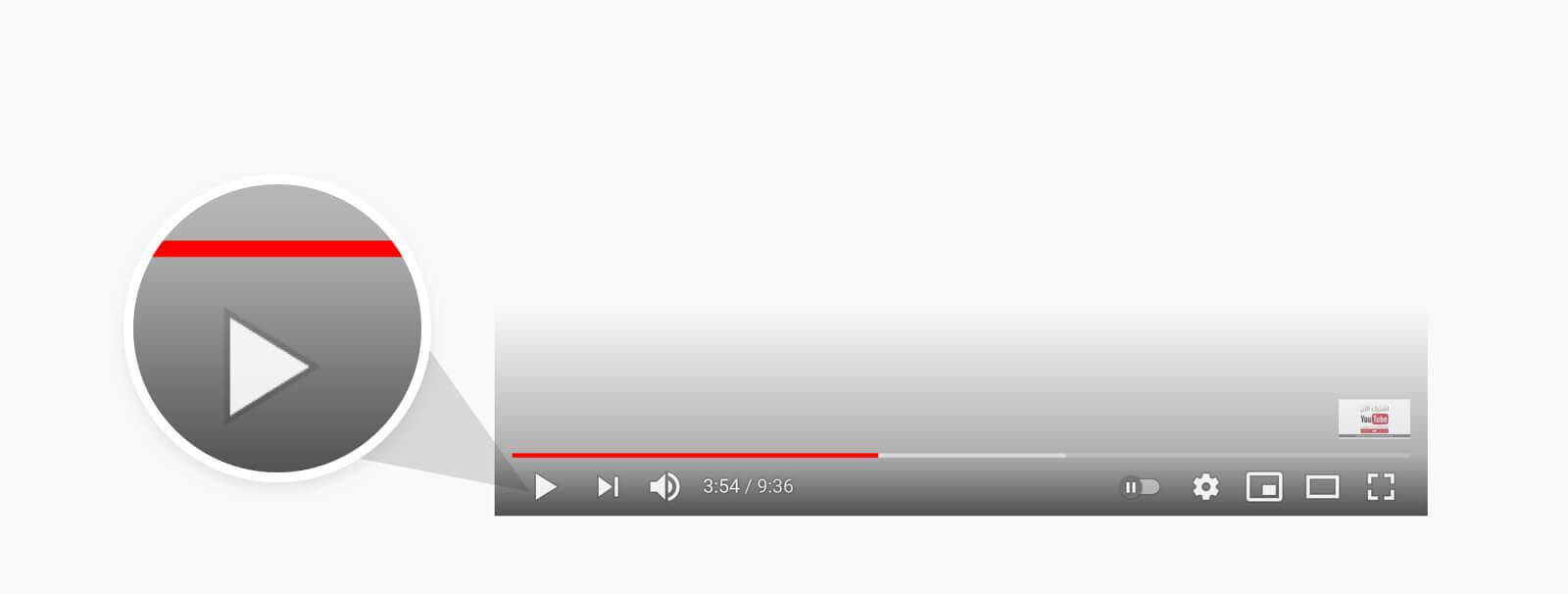 градиент под элементами управления youtube-проигрывателя для видео