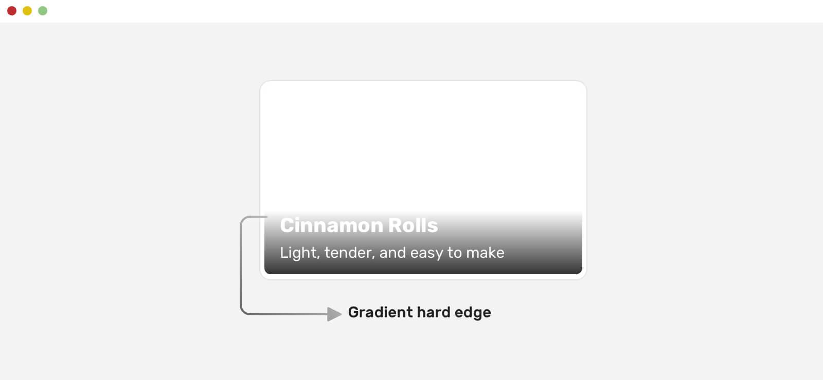 текст поверх изображения с наложением градиента с резким краем