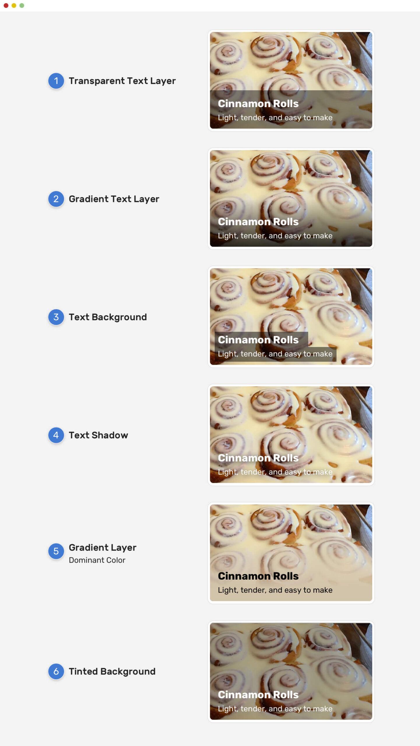 Варианты решения проблемы текста, расположенного поверх изображения.