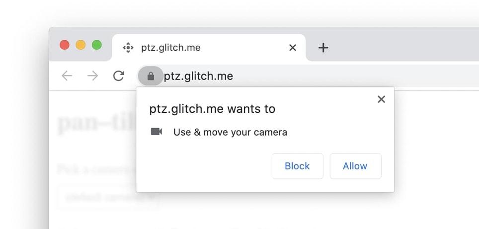 Запрос разрешений для доступа к видеокамере и PTZ
