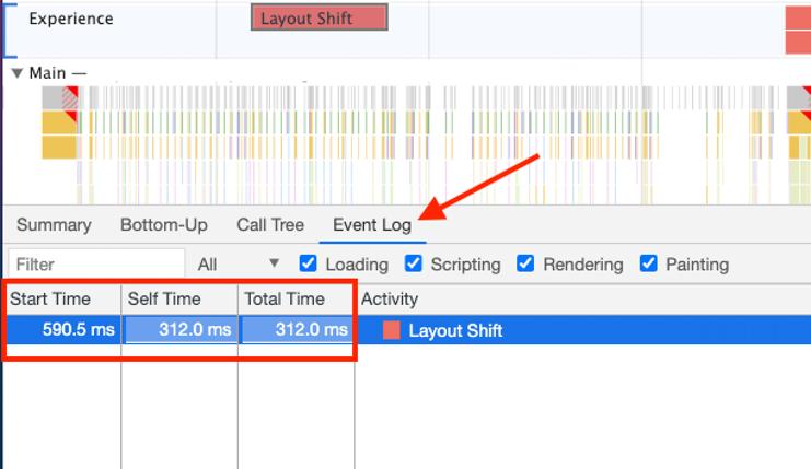 DevTools Layout Shift Event Log