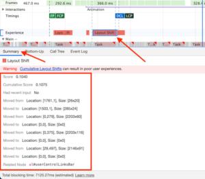 DevTools Layout Shift Summary