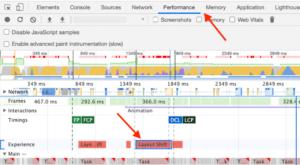 DevTools панель Performance